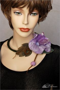 ~ F e l t i n g ~: Felted Necklace Lilac Flowers Felt Necklace, Scarf Necklace, Fabric Necklace, Flower Necklace, Lilac Flowers, Felt Flowers, Textiles, Fiber Art Jewelry, Flower Model