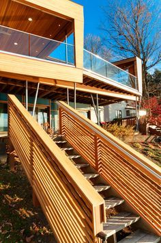 horizontal wood stair and railing outdoor - Google Search