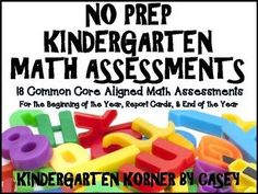 This Kindergarten MATH ASSESSMENTS Package includes 18 Common Core Assessments ENTIRE YEAR! Perfect for Beginning of the Year, Report Cards,and End of the Year! Package includes the following assessments: Number Recognition 1-20 Number Recognition 1-30 One-to-One Correspondence Number...