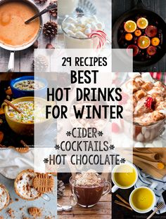 A collection of the best hot drinks for winter that's sure to warm you up and drive the winter blues away. From hot chocolate to cocktails, there's something in here for everyone. #drinks #recipes #hotchocolate #applecider