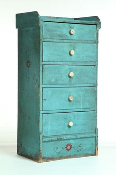 American, 19th century, pine decorated chest of drawers