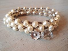 Pearl crochet necklace or wrap bracelet 'Uptown by slash Knots