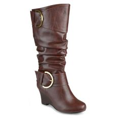 Women's Journee Collection Extra Wide Calf Tall Faux Leather Buckle Boots -