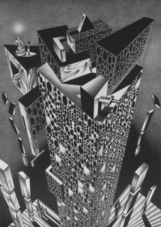Soviet Artist and Mathematician Anatolii Fomenko's Mathematical Impressions – Brain Pickings Futuristic City, Cartoon Sketches, Black White Art, Creative Sketches, Geometric Designs, Oeuvre D'art, Cool Art, Illustration Art, Illustrations