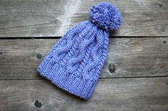 Knit pom pom womens hat violet lavender winter accessories knitted hat with pom pom winter hat purple