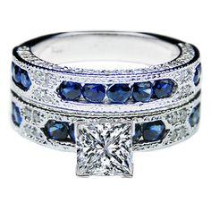 Princess Cut Diamond Vintage Engagement Ring Blue-Sapphire Accents