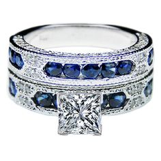 Princess Cut Diamond Vintage Engagement Ring Blue-Sapphire Accents. Would match my ring!
