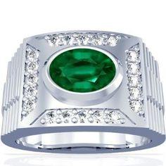 Platinum Oval Cut Emerald Mens Ring