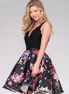 cb1086ec921 V-Neck Floral Lace Fit and Flare Homecoming Dress from JVN by Jovani