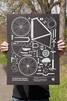 Collection of bike parts poster.
