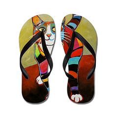 CafePress - New Cat Of Many Colors - Flip Flops, Funny Th...