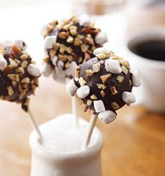 Chocolate Cake Pops With Walnuts And Marshmallows