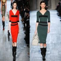 Victoria Beckham Style Stealer V-Neck Stripe Fitted Dress (Dark Green) *Ships Free + Points*