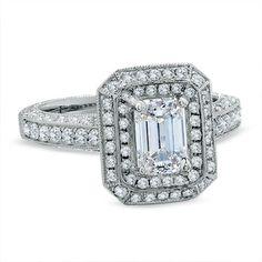2 CT. Emerald-Cut Diamond Engagement Ring in 14K White Gold // wowza...