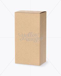 Kraft Box Mockup – Half Side View (High-Angle Shot)
