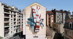 """Das KünstlerduoNevercrewwar gerade in der französischen Stadt Grenoble zu Gast, wo die beidenSchweizer ihre neueste Mural-Arbeit für das dasStreet Art Fest realisiert haben. Das Wandbild mit dem Titel""""Ordering Machine""""vonChristian Rebecchi und Pablo Togni thematisiert die schlechte Angewohnheit der Menschen, natürlichen Ressourcen zu privatisieren und kapitalisieren. Die Nervrew hat bereits in früheren Bildern das Thema Natur und Umweltschutz thematisiert. Die Künstler schreiben uns…"""