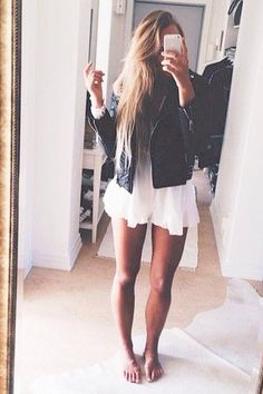 leather jacket over white
