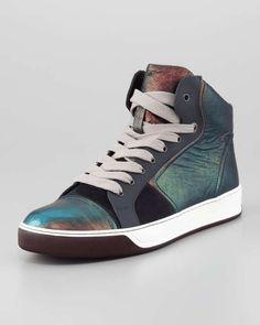 Lanvin | Iridescent Leather High-Top Sneaker #lanvin #sneakers