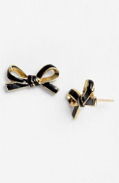 black + gold skinny bow studs | kate spade