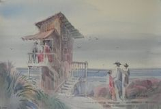 Stop for Coffee by Jim Burns Watercolor ~ 14 x 21