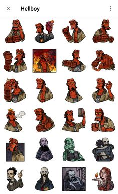 Sticker pack of supernatural character Hellboy Hellboy Movie, Telegram Stickers, Boy Art, Spawn, Zbrush, Game Art, Creative Art, Board Games, Films