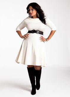 Plus Size Cowl Neck Belted Sweater Dress White Cream Plus Size Sweater Dress, White Sweater Dress, Sweater Dresses, Curvy Girl Fashion, Plus Size Fashion, Womens Fashion, Plus Size Dresses, Plus Size Outfits, Big Girl Clothes