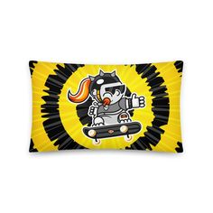Skate Girl Black & Yellow Pillow - Tie-dye Bust Collection - 20×12