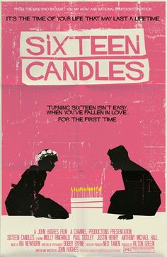 Sixteen Candles 1984 Minimal Movie Poster by Mark Welser 80s Movie Posters, Minimal Movie Posters, Movie Poster Art, Poster S, Poster Wall, Minimal Poster, Movie Collage, Wall Collage, Pink Movies