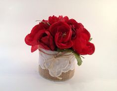 Red Centerpiece Burlap and Lace Flower by EdenFloralDesign on Etsy, $34.00
