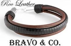 B-252 Sterling Silver & Kangaroo Leather New Wristband Surf Men Bracelet .