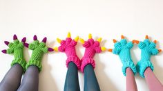 Monster Slippers CROCHET PATTERN PDF Kids Womens by KnitsForLife, $5.00