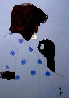 Rene Gruau illustration, man with daisy