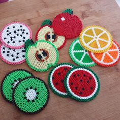 Fruit coasters perler beads by Lilie Swee