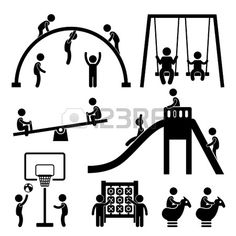 Children Playing at Playground Park Outdoor Stick Figure Pictogram Icon photo