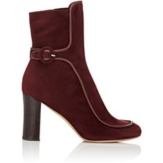 Derek Lam Women's Sam Piped Ankle Booties (63.500 RUB) ❤ liked on Polyvore featuring shoes, boots, ankle booties, ankle boots, burgundy, burgundy leather boots, chunky heel booties, short leather boots and bootie boots