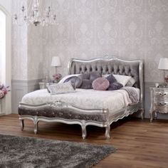 French Silver Leaf Upholstered Double Crushed Velvet Bed for sale online Silver Velvet Sofa, Grey Velvet Bed, Velvet Bedroom, Black Velvet, Velvet Upholstered Bed, Crushed Velvet Fabric, King Size Mattress, Bedroom Decor, Bedroom Ideas