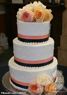 "Design W 0341 | Butter Cream Wedding Cake | 10""+8""+6"" | Serves 75 | 2 Tone Satin Ribbon, Fresh Flowers | Standard Price"