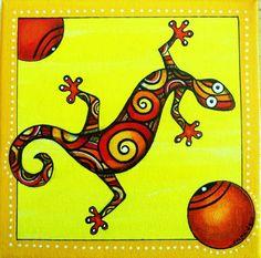 """Nouveau des petits lézards peints à l'acrylique. """"Les margouyas"""""""