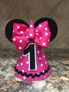 Minnie Mouse Birthday hat pink first Birthday by MyDayCreations