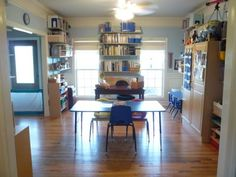 Homeschool room ~ LOTS of ideas for organization and storage!