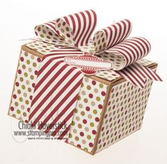 GIft Bow Bigz Die, Kraft Gift Box, Christmas Collectibles stamp set; Season of Style DSP; Christmas Ornament punch.  Could easily be converted to any occasion.