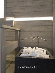 Kiuas | Asuntomessut Interior, Interior Inspiration, Modern House, Interior Lighting, House Inspiration, Sauna Design, Best Cleaning Products, Interior Design, Spa Rooms