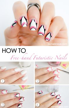 Futuristic White Nails - nail art tutorial. Click through for more info.