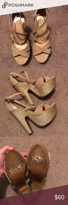 Gianni Bini glitter sole sandals Tan suede sandals with gold glitter sole. Gently used. Gianni Bini Shoes Sandals
