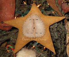 145e Primitive Christmas Snowman Star Ornament by Crowsroostprims, $2.00