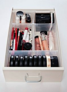 Top 58 Most Creative Home-Organizing Ideas and DIY Projects  http://www.lipglossiping.com/2012/04/the-perfect-ikea-makeup-storage-solution-for-less-than-youd-think/