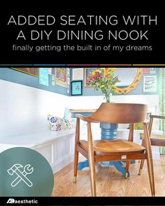 After years of dreaming about having my very own built in dining nook, I finally decided to attempt building my own. Spoiler: I LOVE IT! Breakfast Nook Set, Dining Nook, Wishbone Chair, New Homes, Kitchen Cabinets, Sofa, Building, Diy, House