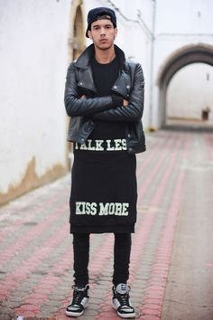 BLACK - changes I would make is to get rid of the tacky slogans, replace with those with a japanese indigo workman apron with kanji and logo/crest/design. that way it doesn't look like a skirt....