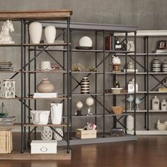 Shop Barnstone Cornice Triple Shelving Bookcase by iNSPIRE Q Artisan - On Sale - Overstock - 9922892 - Brown Finish Metal Bookcase, Etagere Bookcase, Bookcase Shelves, Wood Shelves, Bookcases, Pine Bookcase, Shelf, Wall Shelving, Modern Bookcase