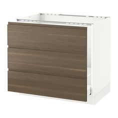"""SEKTION Base cabinet f/sink & waste sorting - white, Voxtorp walnut effect, 36x24x30 """" - IKEA: This one will fit the big sink! $472"""